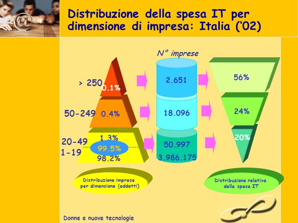 Donne e nuove tecnologie Distribuzione della spesa IT per dimensione di impresa: Italia (02) 20% 56% 24% Distribuzione relativa della spesa IT 18.096 2.651 50.997 3.986.175 N° imprese 0.4% 0.1% Distribuzione imprese per dimensione (addetti) 1-19 20-49 50-249 1.3% 98.2% 99.5% > 250