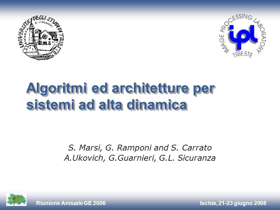 Ischia, 21-23 giugno 2006Riunione Annuale GE 2006 Algoritmi ed architetture per sistemi ad alta dinamica S. Marsi, G. Ramponi and S. Carrato A.Ukovich