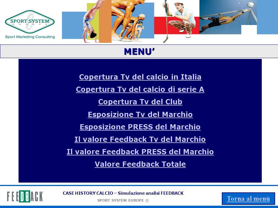 CASE HISTORY CALCIO – Simulazione analisi FEEDBACK SPORT SYSTEM EUROPE © Torna al menù LO SPORT IN ITALIA La copertura TV Dati Simulati