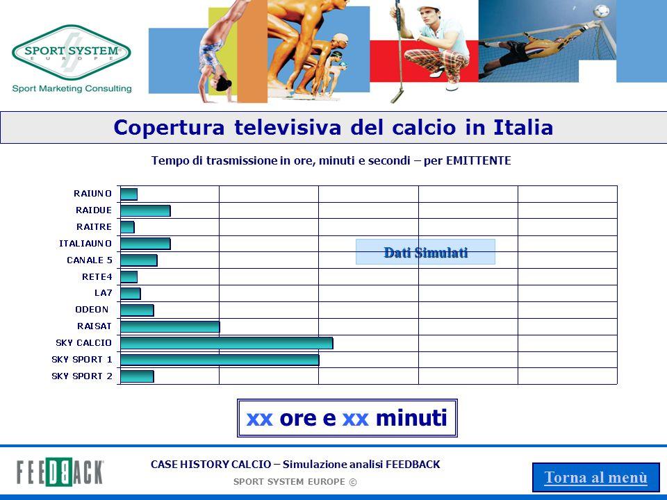 CASE HISTORY CALCIO – Simulazione analisi FEEDBACK SPORT SYSTEM EUROPE © Torna al menù xx ore e xx minuti Tempo di trasmissione in ore, minuti e secondi – per EMITTENTE Dati Simulati Copertura televisiva del calcio in Italia