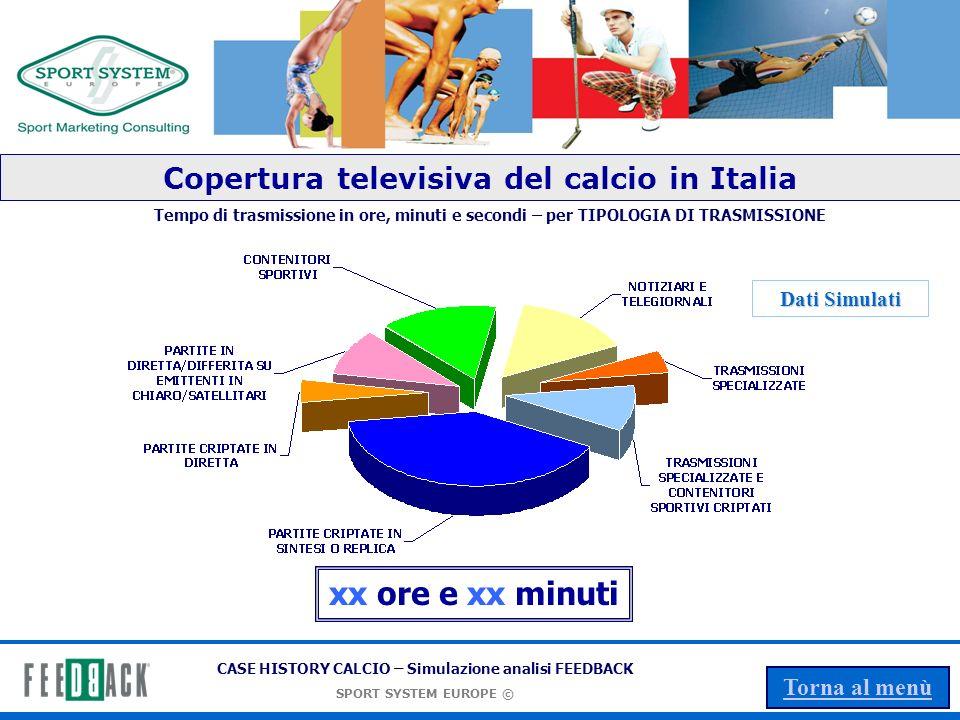 CASE HISTORY CALCIO – Simulazione analisi FEEDBACK SPORT SYSTEM EUROPE © Torna al menù Il valore FEEDBACK del marchio TV + STAMPA Valore in Euro Valore economico: xxx Euro Dati Simulati
