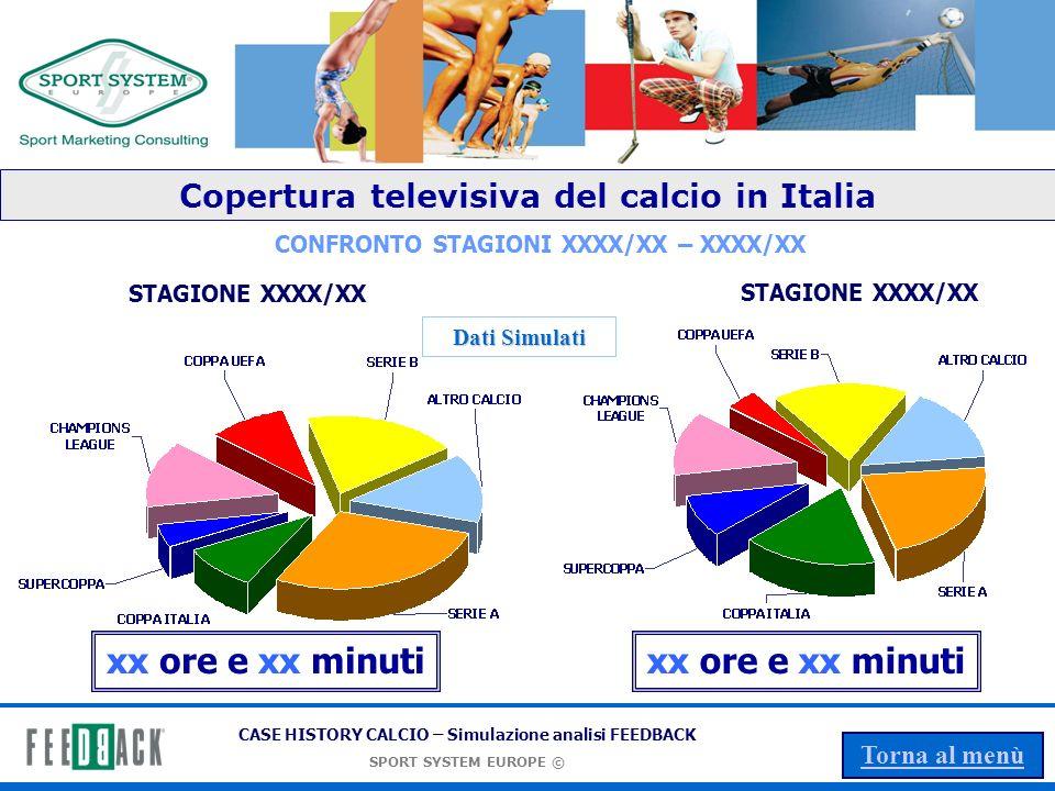 CASE HISTORY CALCIO – Simulazione analisi FEEDBACK SPORT SYSTEM EUROPE © Torna al menù SPORT SYSTEM EUROPE Srl Sono marchi di proprietà di SPORT SYSTEM EUROPE Srl via Campagnoli, 11 - 40128 Bologna (I) info@sportsystemeurope.com Phone +39 051 4171411 Fax +39 051 6388170 - info@sportsystemeurope.com e sono registrati a livello internazionale.
