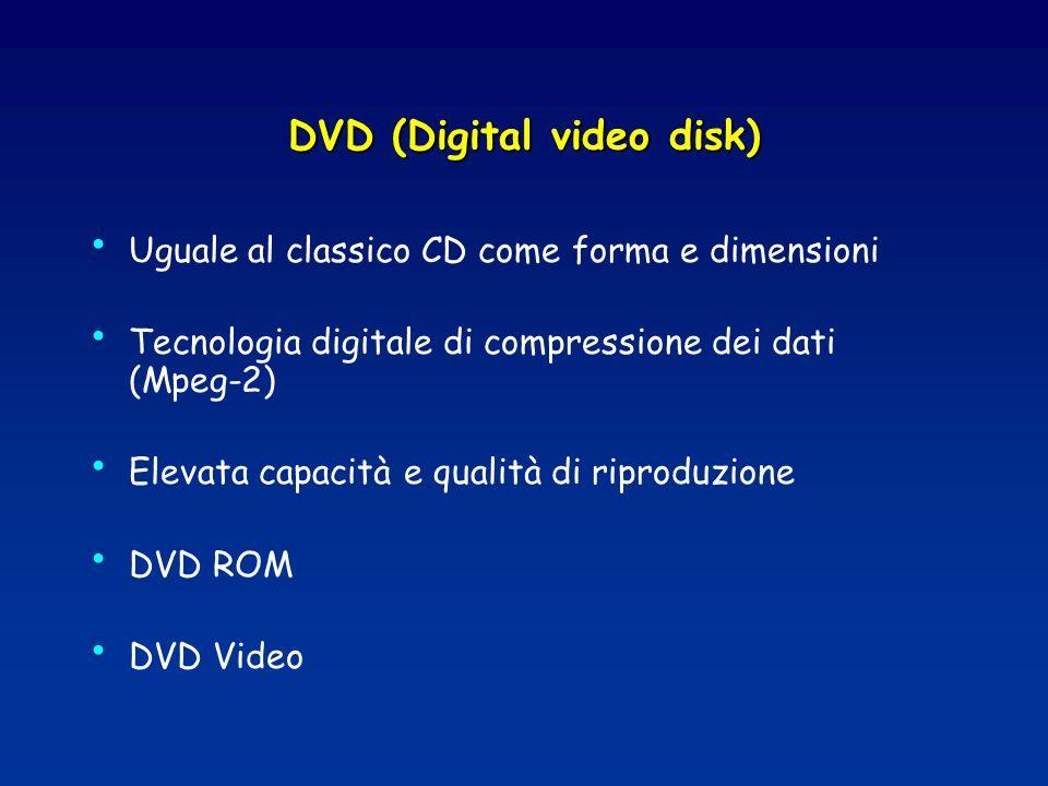 DVD (Digital video disk) Uguale al classico CD come forma e dimensioni Tecnologia digitale di compressione dei dati (Mpeg-2) Elevata capacità e qualit