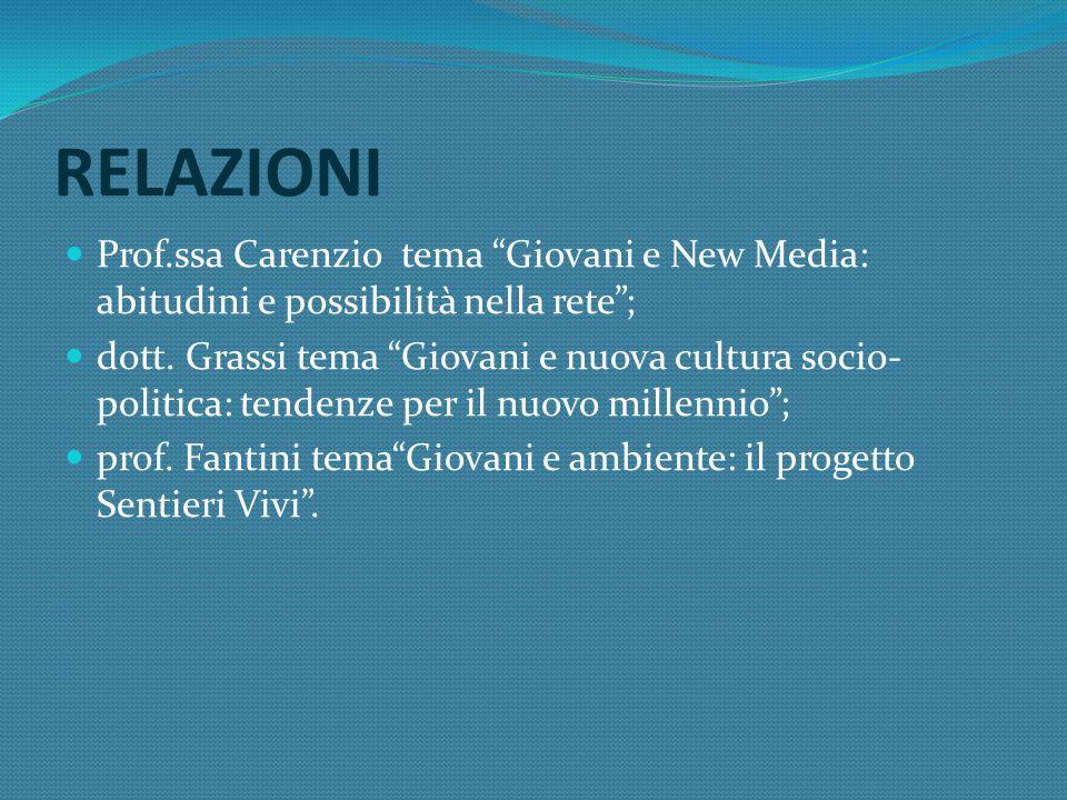 RELAZIONI Prof.ssa Carenzio tema Giovani e New Media: abitudini e possibilità nella rete; dott.