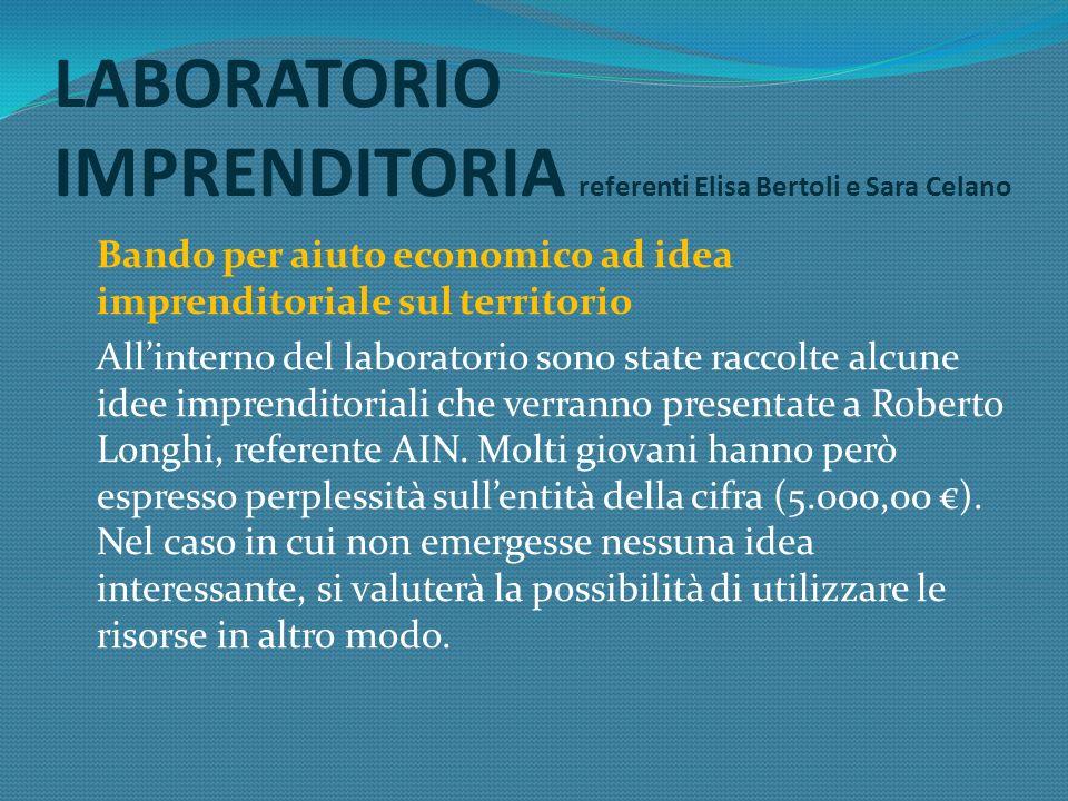 Bando per aiuto economico ad idea imprenditoriale sul territorio Allinterno del laboratorio sono state raccolte alcune idee imprenditoriali che verranno presentate a Roberto Longhi, referente AIN.