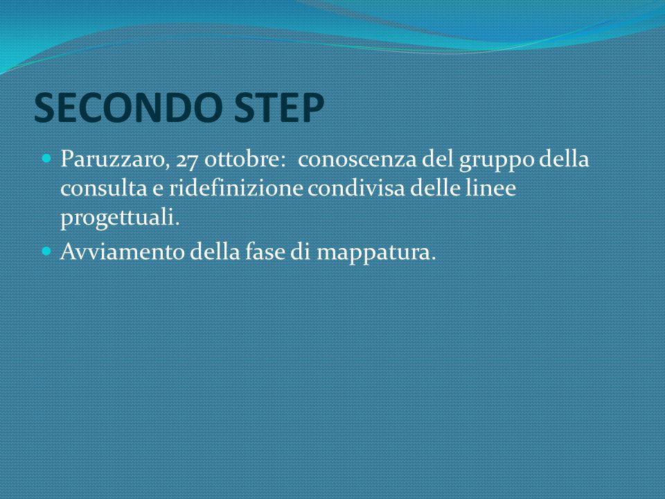 TERZO STEP Colazza, 6 novembre: presentazione dei progetti individuati dagli enti partners e definizione, in riferimento alla prima fase denominata AREA GIOVANI, del Convegno sulle politiche giovanili.