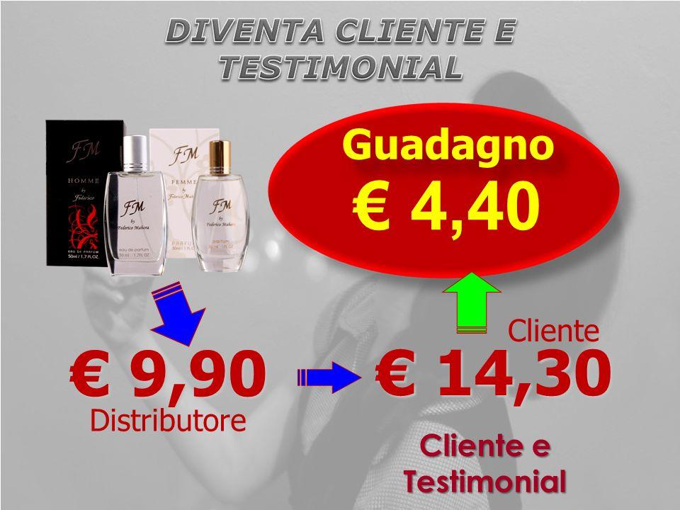 Cliente e Testimonial 9,90 9,90 14,30 14,30 Distributore Cliente Guadagno 4,40