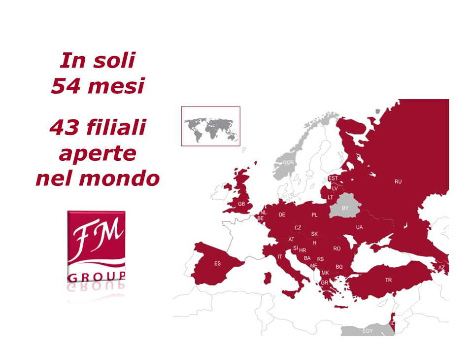 In soli 54 mesi 43 filiali aperte nel mondo