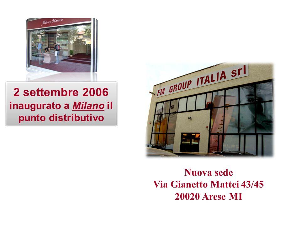 Nuova sede Via Gianetto Mattei 43/45 20020 Arese MI 2 settembre 2006 inaugurato a Milano il punto distributivo 2 settembre 2006 inaugurato a Milano il