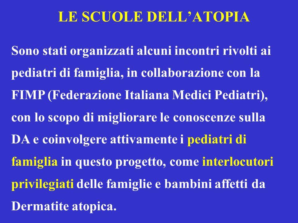 LE SCUOLE DELLATOPIA Sono stati organizzati alcuni incontri rivolti ai pediatri di famiglia, in collaborazione con la FIMP (Federazione Italiana Medic