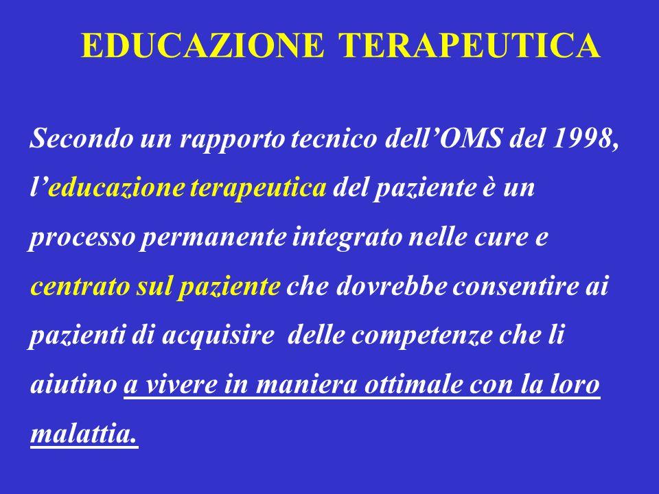 EDUCAZIONE TERAPEUTICA Secondo un rapporto tecnico dellOMS del 1998, leducazione terapeutica del paziente è un processo permanente integrato nelle cur