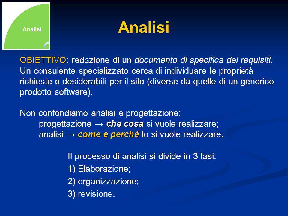 Analisi OBIETTIVO OBIETTIVO: redazione di un documento di specifica dei requisiti.