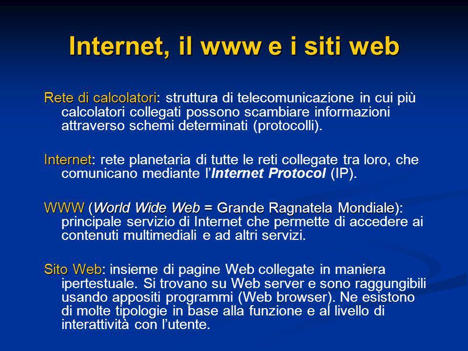 Internet, il www e i siti web Rete di calcolatori Rete di calcolatori: struttura di telecomunicazione in cui più calcolatori collegati possono scambiare informazioni attraverso schemi determinati (protocolli).