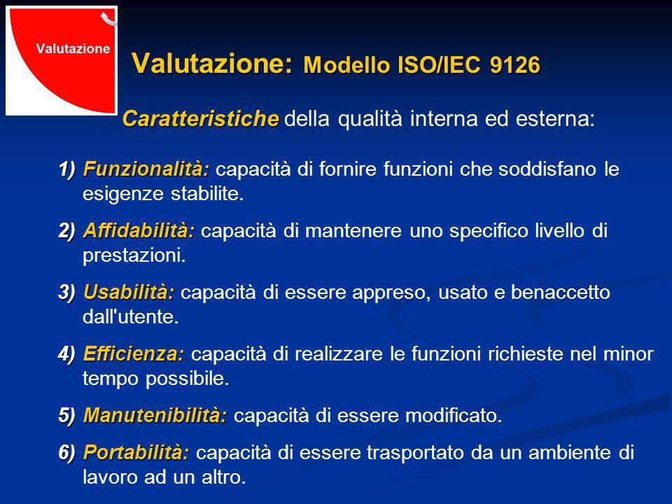 Valutazione: Modello ISO/IEC 9126 Caratteristiche Caratteristiche della qualità interna ed esterna: 1)Funzionalità: 1)Funzionalità: capacità di fornire funzioni che soddisfano le esigenze stabilite.