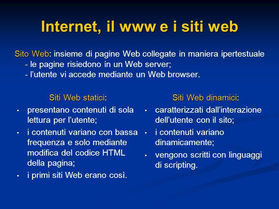 Sito Web Sito Web: insieme di pagine Web collegate in maniera ipertestuale - le pagine risiedono in un Web server; - lutente vi accede mediante un Web browser.