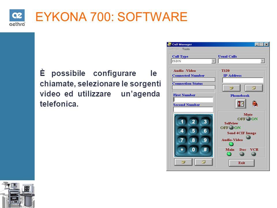 EYKONA 700: SOFTWARE È possibile configurare le chiamate, selezionare le sorgenti video ed utilizzare unagenda telefonica.