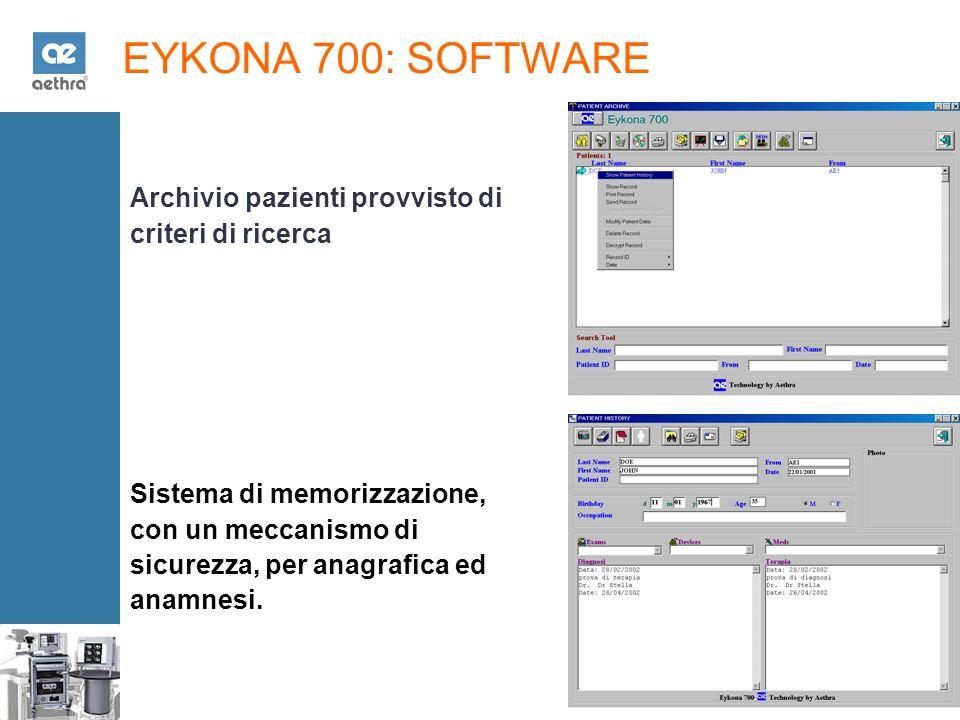 EYKONA 700: SOFTWARE Archivio pazienti provvisto di criteri di ricerca Sistema di memorizzazione, con un meccanismo di sicurezza, per anagrafica ed anamnesi.