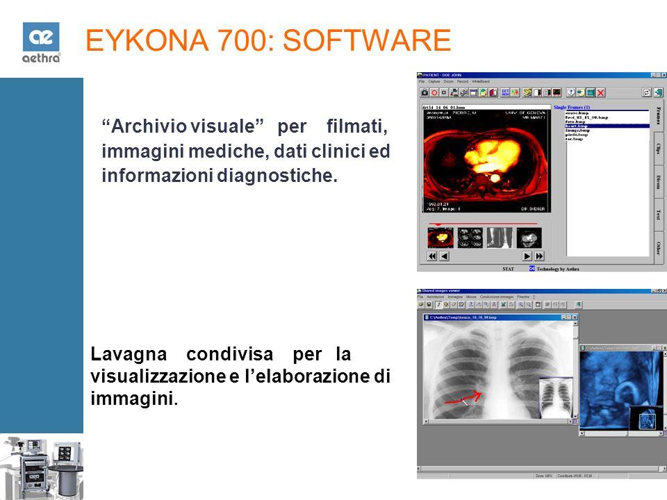 EYKONA 700: SOFTWARE Archivio visuale per filmati, immagini mediche, dati clinici ed informazioni diagnostiche.
