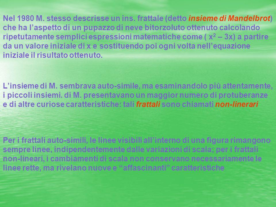 Linsieme di M. sembrava auto-simile, ma esaminandolo più attentamente, i piccoli insiemi. di M. presentavano un maggior numero di protuberanze e di al
