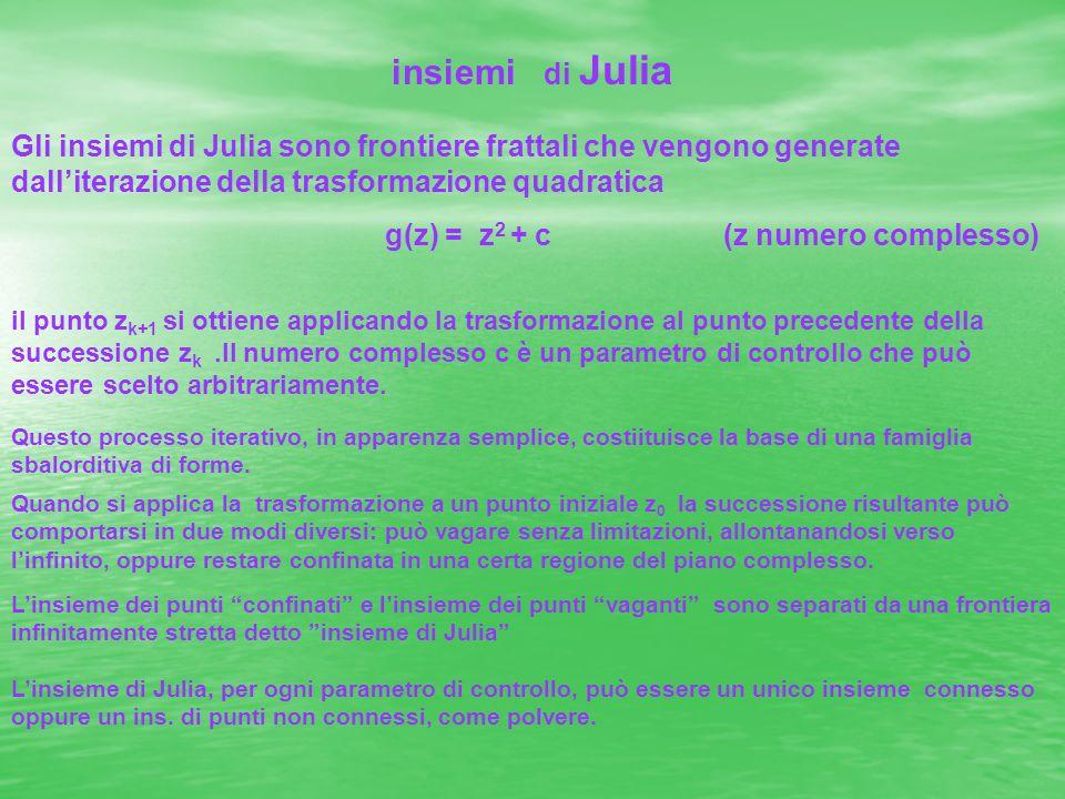 insiemi di Julia Gli insiemi di Julia sono frontiere frattali che vengono generate dalliterazione della trasformazione quadratica g(z) = z 2 + c (z nu