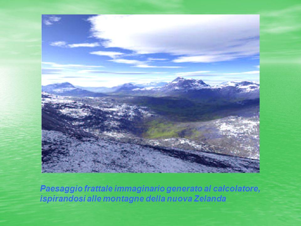 Paesaggio frattale immaginario generato al calcolatore, ispirandosi alle montagne della nuova Zelanda