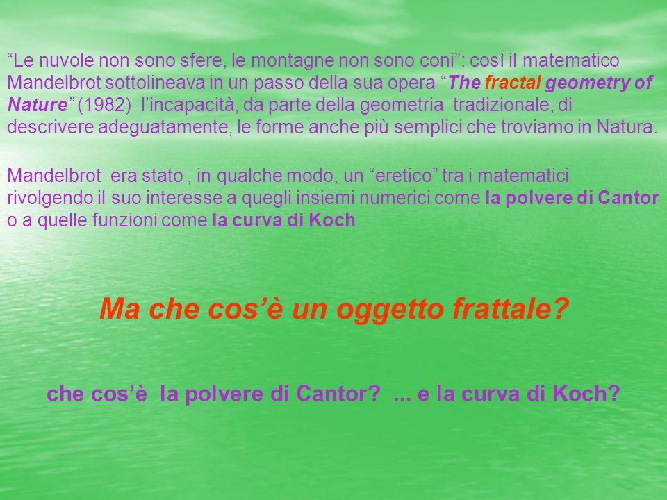 Le nuvole non sono sfere, le montagne non sono coni: così il matematico Mandelbrot sottolineava in un passo della sua opera The fractal geometry of Na