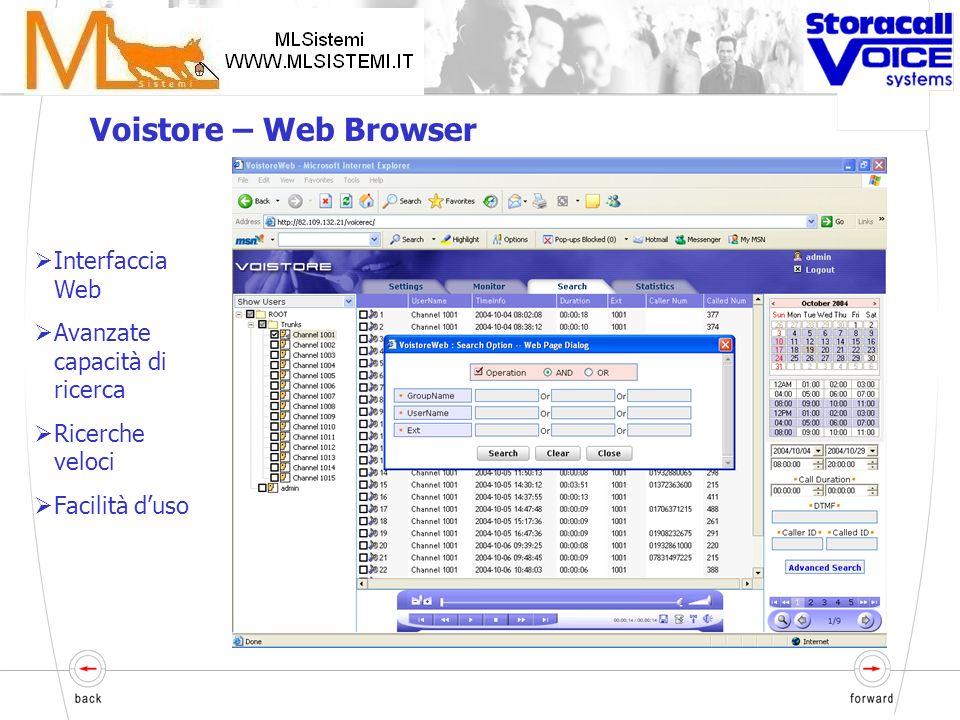 Voistore – Caratteristiche principali Interfaccia web XML Soluzione totalmente flessibile che permette ai clienti di personalizzare: Numero e tipo di