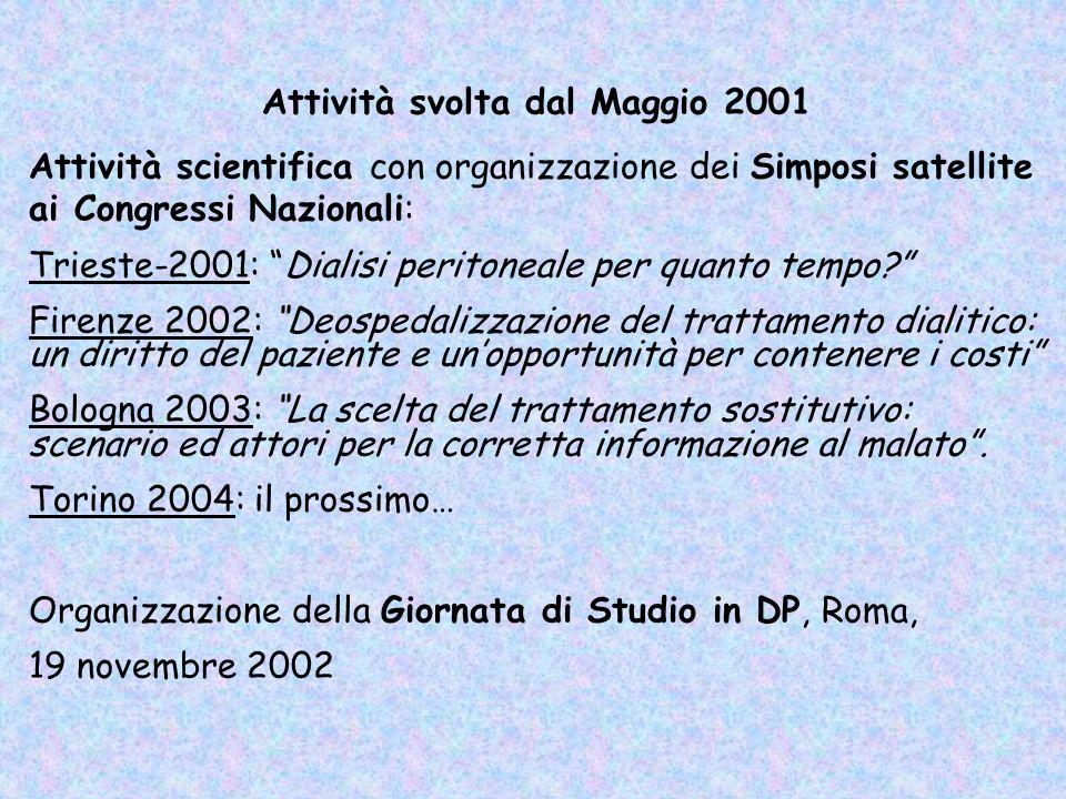 Attività scientifica con organizzazione dei Simposi satellite ai Congressi Nazionali: Trieste-2001: Dialisi peritoneale per quanto tempo? Firenze 2002