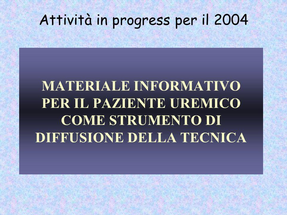 MATERIALE INFORMATIVO PER IL PAZIENTE UREMICO COME STRUMENTO DI DIFFUSIONE DELLA TECNICA Attività in progress per il 2004