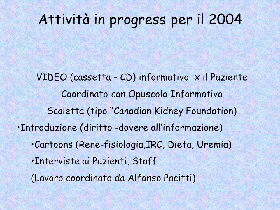 VIDEO (cassetta - CD) informativo x il Paziente Coordinato con Opuscolo Informativo Scaletta (tipo Canadian Kidney Foundation) Introduzione (diritto -