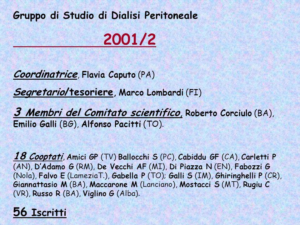 Gruppo di Studio di Dialisi Peritoneale 2001/2 Coordinatrice, Flavia Caputo (PA) Segretario/tesoriere, Marco Lombardi (FI) 3 Membri del Comitato scien