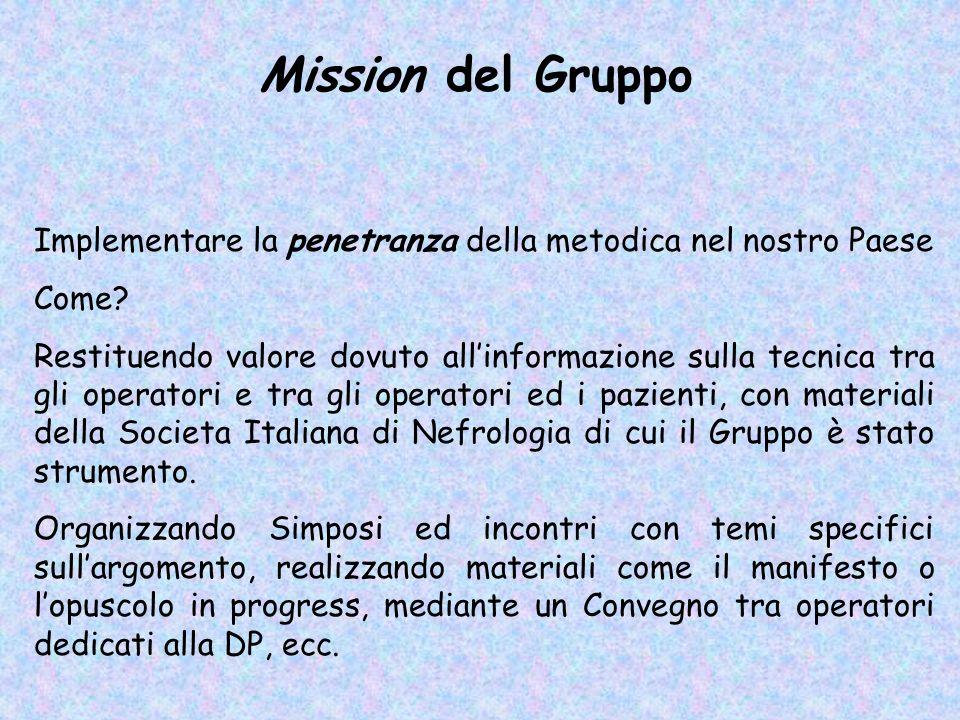 Mission del Gruppo Implementare la penetranza della metodica nel nostro Paese Come? Restituendo valore dovuto allinformazione sulla tecnica tra gli op