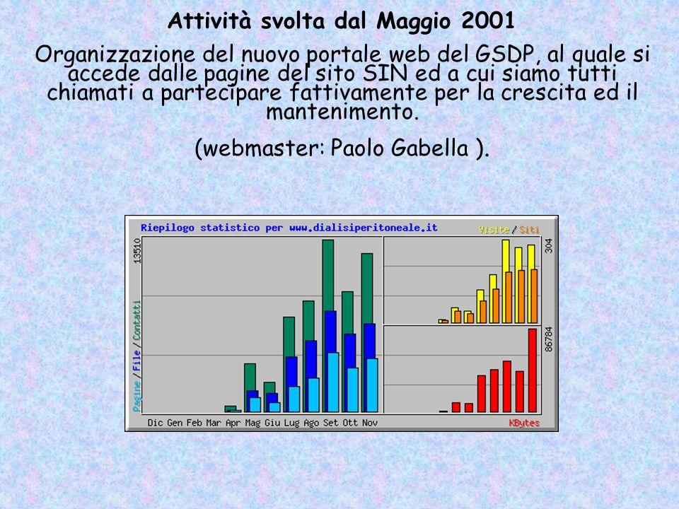 Attività svolta dal Maggio 2001 Organizzazione del nuovo portale web del GSDP, al quale si accede dalle pagine del sito SIN ed a cui siamo tutti chiam