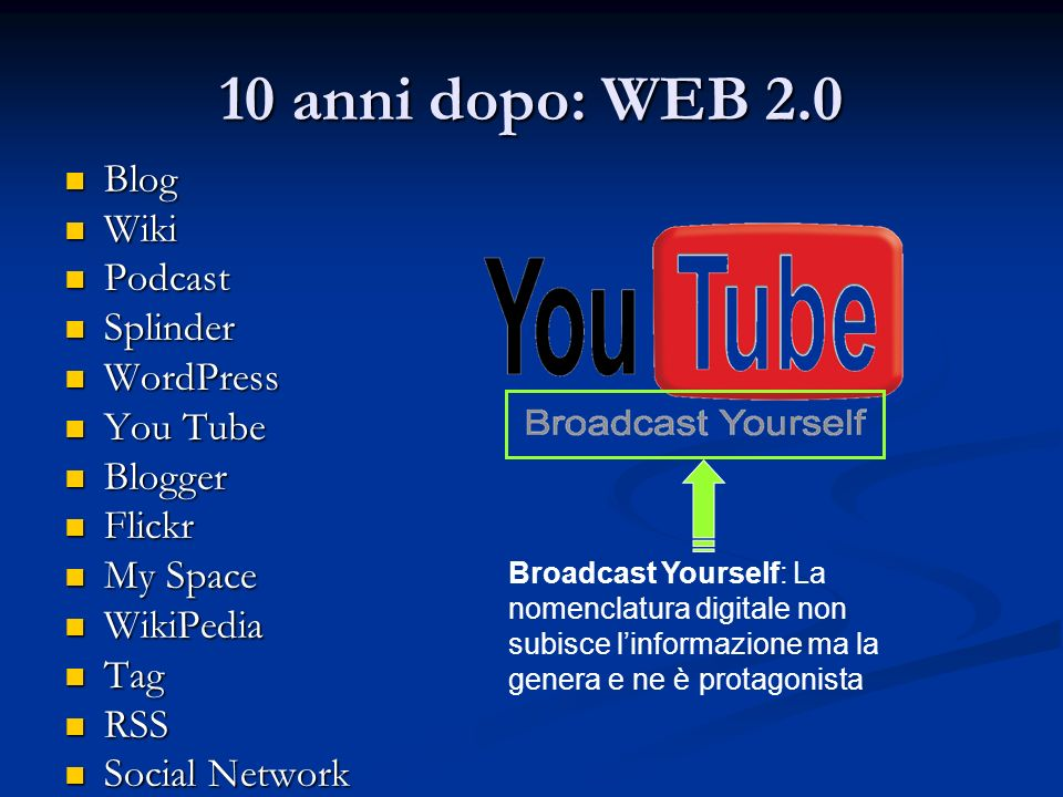 10 anni dopo: WEB 2.0 Blog Blog Wiki Wiki Podcast Podcast Splinder Splinder WordPress WordPress You Tube You Tube Blogger Blogger Flickr Flickr My Space My Space WikiPedia WikiPedia Tag Tag RSS RSS Social Network Social Network Broadcast Yourself: La nomenclatura digitale non subisce linformazione ma la genera e ne è protagonista