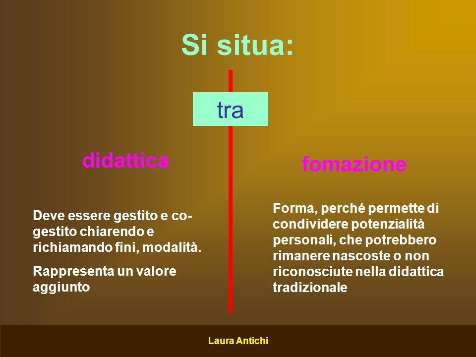 Laura Antichi Si situa: tra didattica fomazione Deve essere gestito e co- gestito chiarendo e richiamando fini, modalità.