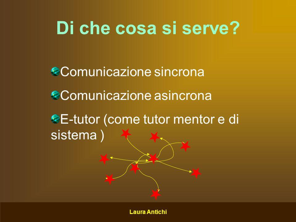 Laura Antichi Comunicazione sincrona Chat, Aula virtuale, Comunicazione virtuale, vocale e video Si potrebbe ricorrere a software come: TeamSpeaK Skype