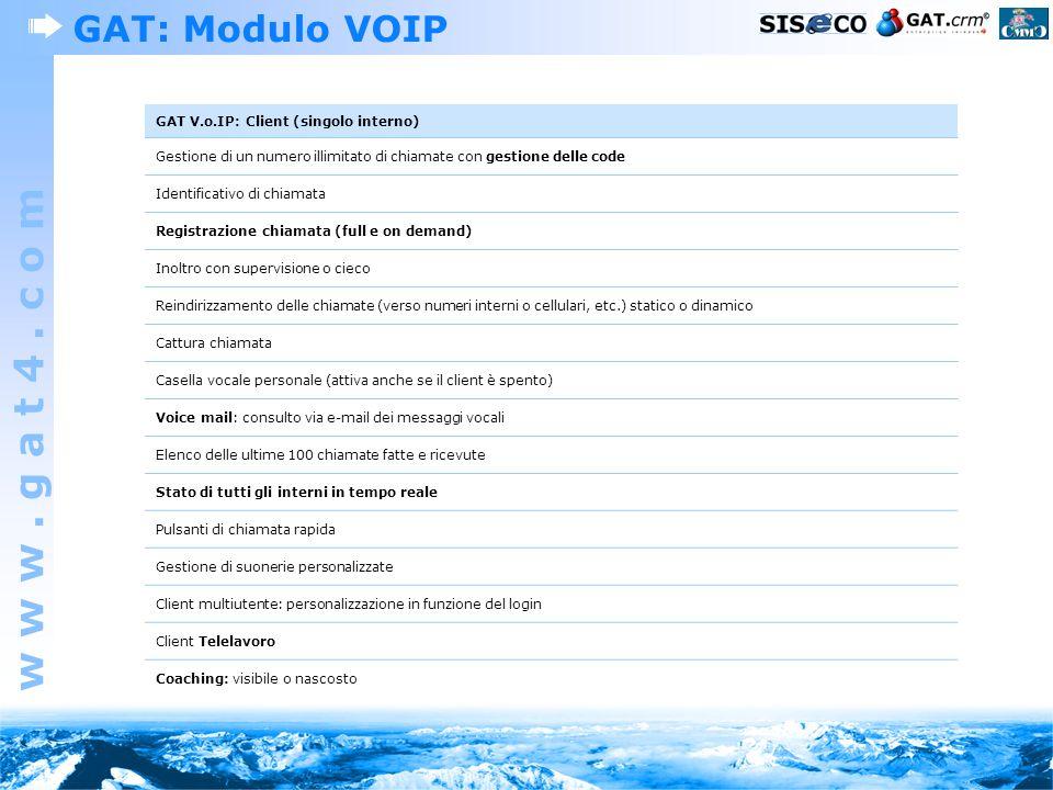 w w w. g a t 4. c o m GAT: Modulo VOIP GAT V.o.IP: Client (singolo interno) Gestione di un numero illimitato di chiamate con gestione delle code Ident