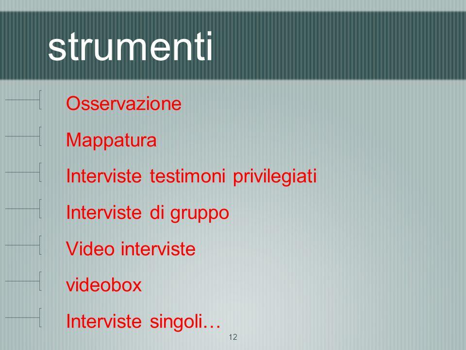 12 strumenti Osservazione Mappatura Interviste testimoni privilegiati Interviste di gruppo Video interviste videobox Interviste singoli…