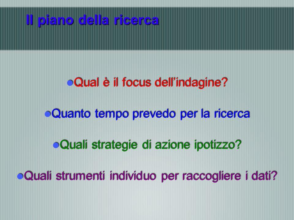 Il piano della ricerca Qual è il focus dellindagine.