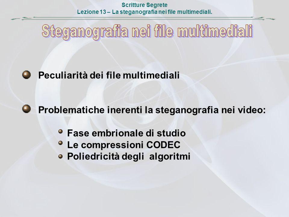 Scritture Segrete Lezione 13 – La steganografia nei file multimediali. Peculiarità dei file multimediali Problematiche inerenti la steganografia nei v