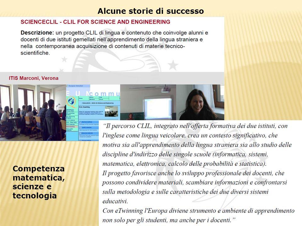 Alcune storie di successo Competenza matematica, scienze e tecnologia