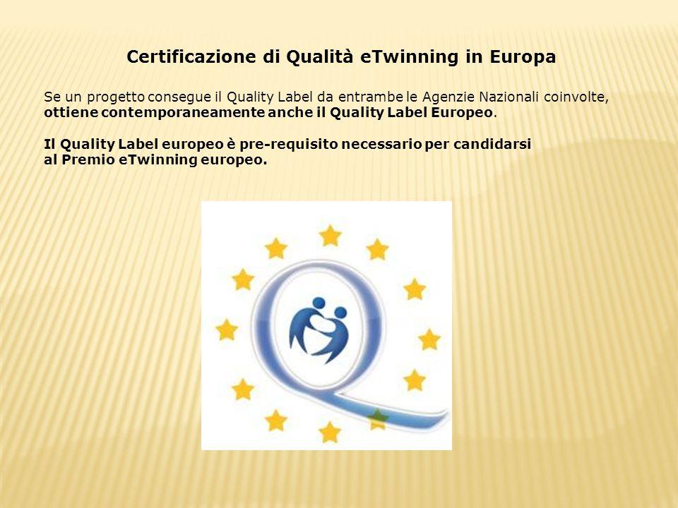 Certificazione di Qualità eTwinning in Europa Se un progetto consegue il Quality Label da entrambe le Agenzie Nazionali coinvolte, ottiene contemporan
