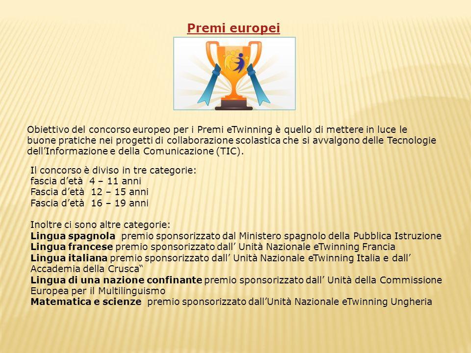 Premi europei Obiettivo del concorso europeo per i Premi eTwinning è quello di mettere in luce le buone pratiche nei progetti di collaborazione scolas