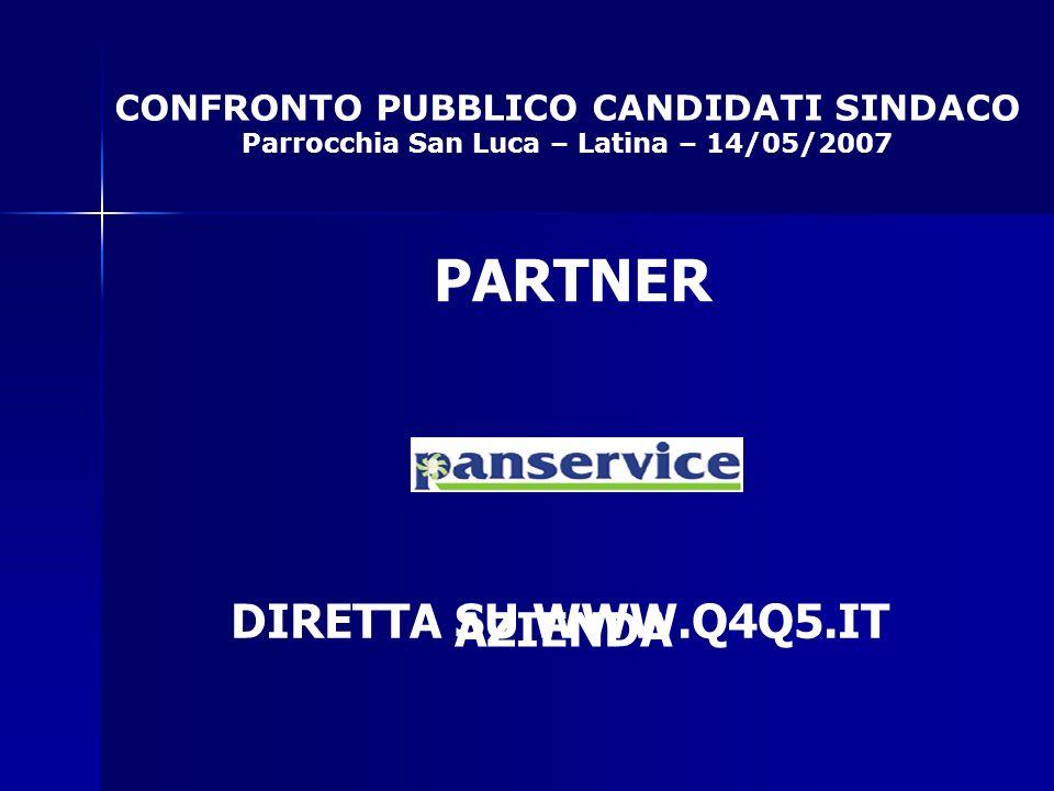 CONFRONTO PUBBLICO CANDIDATI SINDACO Parrocchia San Luca – Latina – 14/05/2007 PARTNER AZIENDA DIRETTA SU WWW.Q4Q5.IT