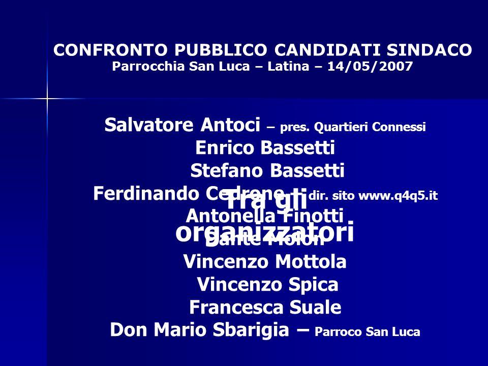 CONFRONTO PUBBLICO CANDIDATI SINDACO Parrocchia San Luca – Latina – 14/05/2007 Tra gli organizzatori Salvatore Antoci – pres.
