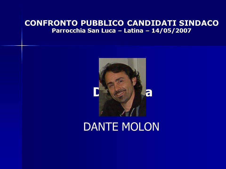 CONFRONTO PUBBLICO CANDIDATI SINDACO Parrocchia San Luca – Latina – 14/05/2007 Da Mosca DANTE MOLON