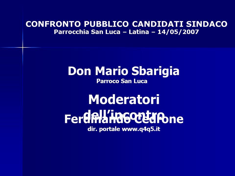 CONFRONTO PUBBLICO CANDIDATI SINDACO Parrocchia San Luca – Latina – 14/05/2007 Moderatori dellincontro Don Mario Sbarigia Parroco San Luca Ferdinando Cedrone dir.