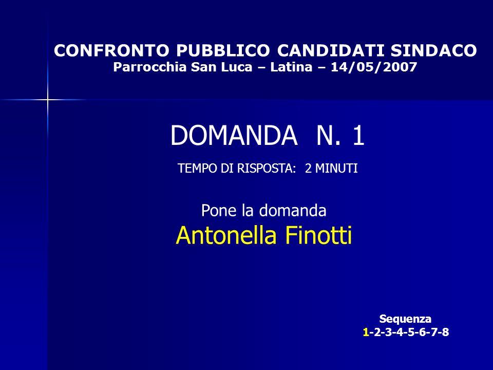CONFRONTO PUBBLICO CANDIDATI SINDACO Parrocchia San Luca – Latina – 14/05/2007 Sequenza 1-2-3-4-5-6-7-8 DOMANDA N.