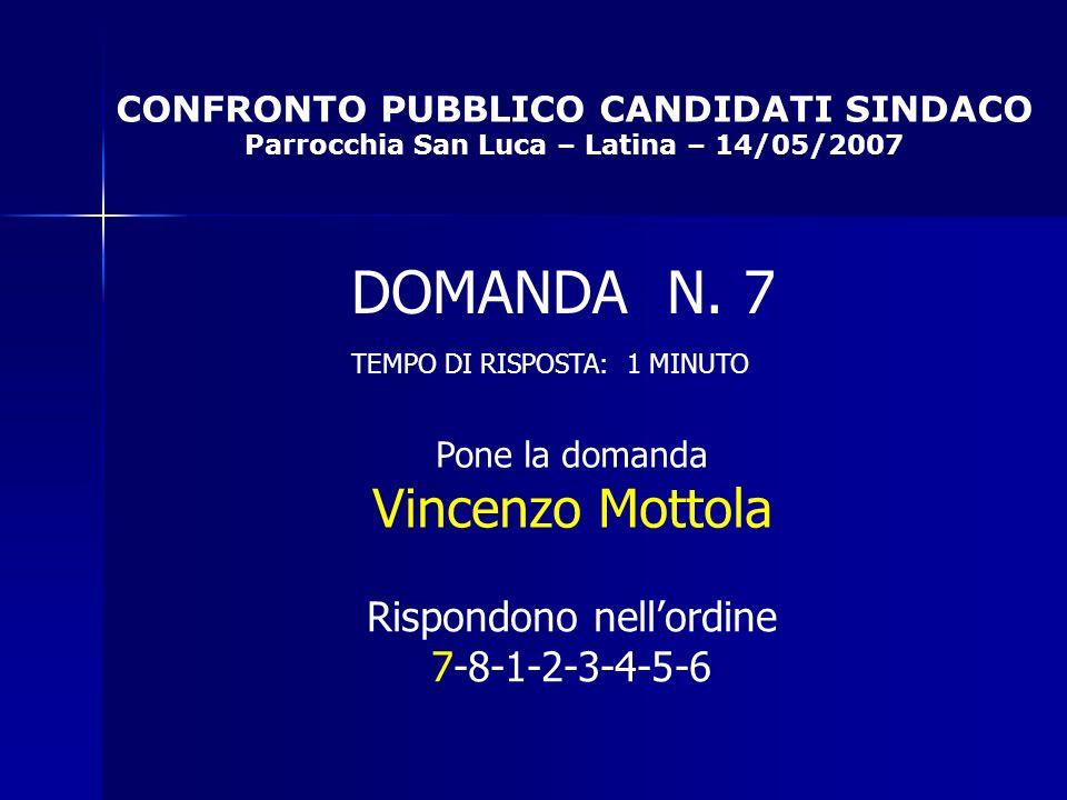 CONFRONTO PUBBLICO CANDIDATI SINDACO Parrocchia San Luca – Latina – 14/05/2007 Rispondono nellordine 7-8-1-2-3-4-5-6 DOMANDA N.