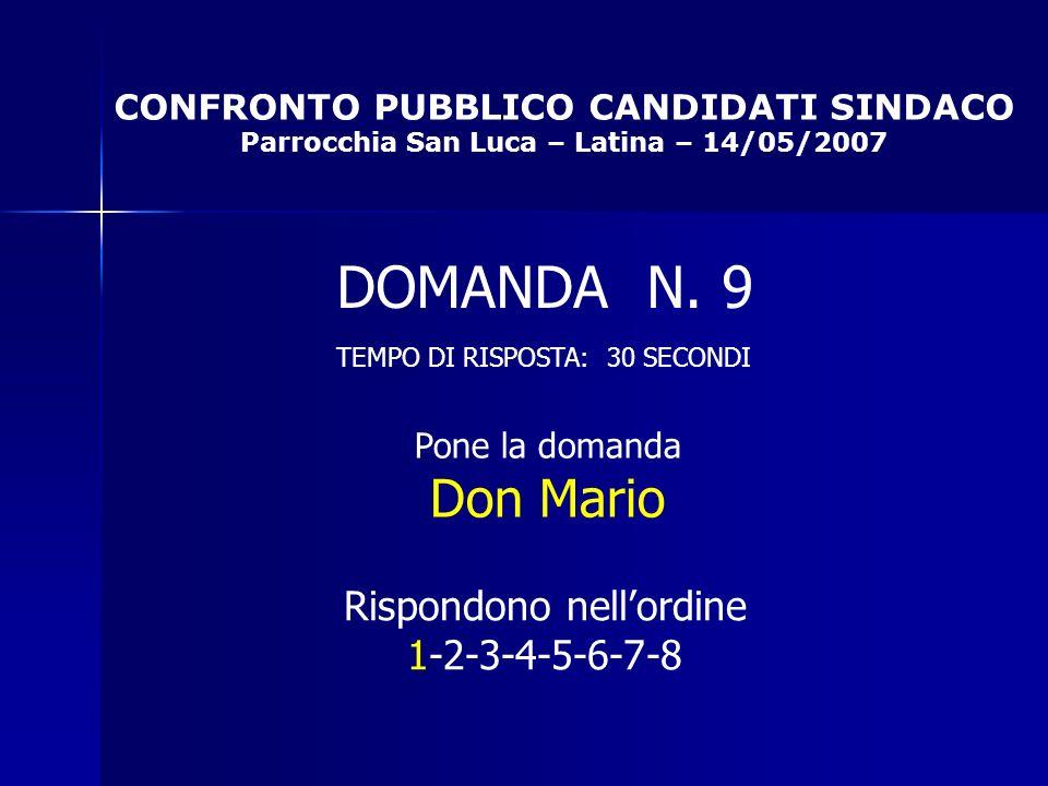 CONFRONTO PUBBLICO CANDIDATI SINDACO Parrocchia San Luca – Latina – 14/05/2007 Rispondono nellordine 1-2-3-4-5-6-7-8 DOMANDA N.